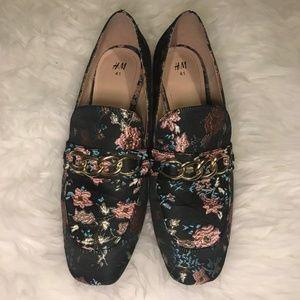 H&M Floral Low Heel Loafer